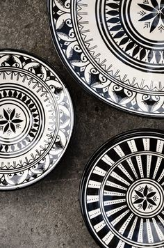 Punch POW Moroccan black and white plates.Moroccan black and white plates.