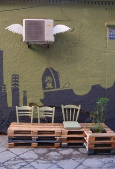 DIY pallet public bench / Placemaking / from derelict void space to amazin public place / athens, greece by Atenistas