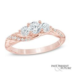 3/4 CT. T.W. Diamond Past Present Future® Twist Engagement Ring in 14K Rose Gold - Rings - Zales $1299.99