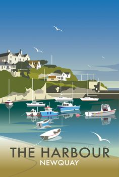 Art Poster: Newquay Cornwall Uk Vintage Illustrated Travel Poster Print Framed Canvas - The Zedign House - Store Posters Uk, Railway Posters, Illustrations And Posters, Retro Posters, Vintage Films, Poster Vintage, Vintage Travel Posters, British Travel, British Seaside
