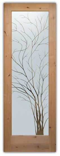 Black frame rather than natural wood. Etched Glass Door, Frosted Glass Door, Glass Front Door, Glass Etching, Front Doors, Glass Design, Door Design, Frosted Window Film, Unique Doors