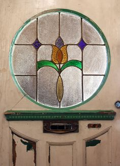 Antique Tudor Door with Round Stained Glass Window, Early 1900's NED26 For Sale | Antiques.com | Classifieds