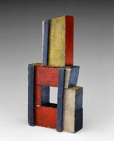 Joaquín Torres-García  Estructura en Colores Puros (Structure in Primary Colors) 1929  Oil and nails on wood  Dimensions cm 22.7 x 11.4 x 4.4  Dimensions in 9 x 4-1/2 x1-3/4