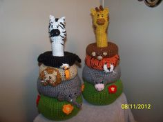 Crochet Jungle Stacker baby toy crochet toy IT also RATTLES ANY animals you want. $38.99, via Etsy.