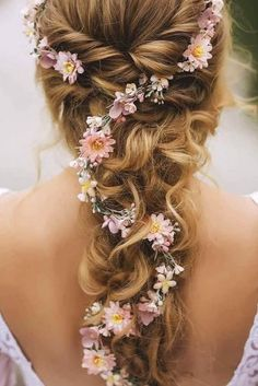 hair vine wedding half up ; hair vine wedding updo with veil ; Bridal Hair Up, Wedding Hair Flowers, Wedding Hair And Makeup, Flowers In Hair, Hair Wedding, Wedding Blog, Plum Wedding, Whimsical Wedding Hair, Hippie Wedding Hair