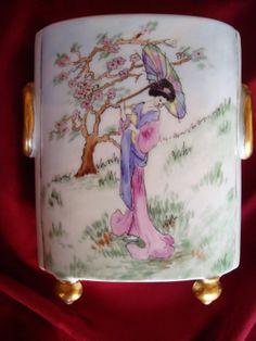 Antique Limoges William Guerin Hand Painted Signed Cachepot Vase Geisha 6 1 2 | eBay