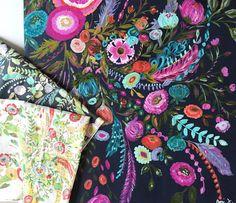 From acrylic on canvas to screen printed fabric.  #milliefleurfabrics #barijdesigns #barijcolor #artgalleryfabrics #wearefabrics by barij
