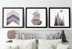 Set of 3 Prints, Set of 3 Scandinavian, Scandinavian Print, Print Set, Scandinavian Art, Minimalist, Poster, Mauve, Lilac, Mountains, Purple by UrbanEpiphanyPrints on Etsy