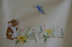Hand Embroidery BUNNY & BUTTERFLY baby blanket PDF Instructions and Needlework Pattern