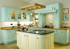 Jon said no white painted cabinets, so I'm thinking a light blue or blueish gray