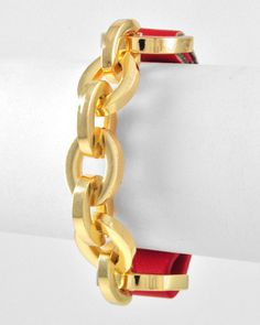 Gold Tone Link Chain Leatherette Red Bracelet