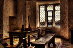 Primitive furniture in castle interior