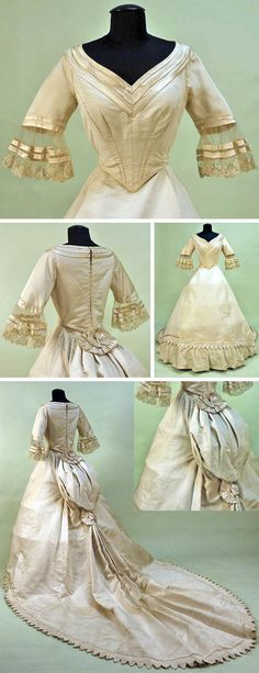Ivory silk bengaline wedding gown, French, 1860. Open V-neck boned back lacing bodice with points, short sleeves with lace on net bell, trimmed with bands of satin ribbon & lined in muslin. Bustle skirt; wide train with applied hem band of Van Dyke points bound in satin. Satin bow at waist and below bustle; hem stiffened & trimmed with pleated voile & lace. Lined in glazed cotton. Whitaker Auctions