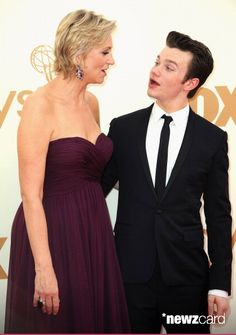 Host Jane Lynch and actor Chris Colfer arrives at the 63rd Primetime Emmy Awards at Nokia Theatre L.A. Live on September 18, 2011 in Los Angeles, California.