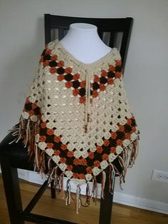 Beautiful crochet poncho. I will custom make any size or color variations just message me.