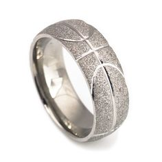 Handcraft basketball titanium wedding bands for men-8mm (Basketball Boyfriend)