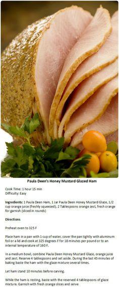 Paula Deens Honey Mustard Glazed Ham Recipes Easter Dinner