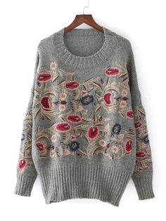 Floral Embroidery Drop Shoulder Sweater