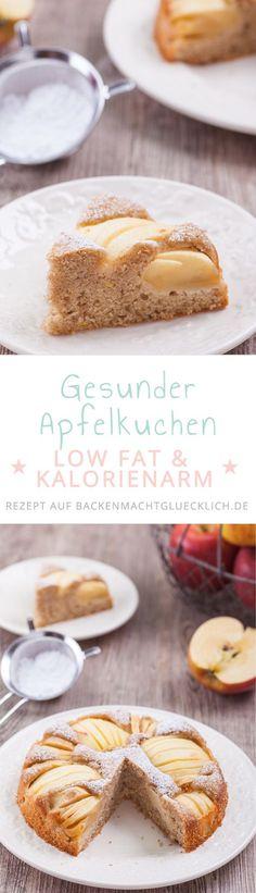 Dieser versunkene Apfelkuchen mit Dinkelmehl ist nicht nur unglaublich saftig und lecker, sondern auch noch fett- und kalorienarm, mit Dinkelmehl gebacken und vergleichsweise wenig Zucker. | Backen macht glücklich