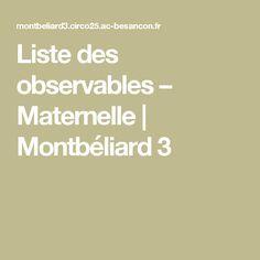 Liste des observables – Maternelle | Montbéliard 3