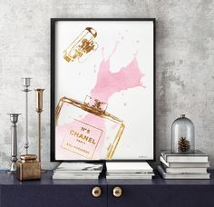 Perfume poster, 24x36 inches watercolor print in pink with gold foil effect - Dimensions:24X36 inches (other sizes are available) - Printed on archival, acid-free paper. - Museum-quality posters made on thick, durable, matte paper. - Most art comes with Signature on. - If you like an item in my shop but would like a different colour or style, just send me a message. - Colors depicted on your screen may be slightly different from the actual print, due to screen settings. - Any metallic foil…