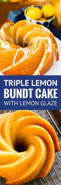 Triple Lemon Bundt Cake -- luscious lemon butter cake infused with lemon syrup, drizzled with a lemon glaze and topped off with a sprinkling of lemon sugar = HEAVEN!!! A to-die-for bundt cake recipe... | lemon bundt cake | lemon bundt cake from scratch | bundt cake recipes | bundt cake ideas | bundt cake glaze | lemon bundt cake glaze | find the recipe on unsophisticook.com #bundt #cakerecipe #bundtbakers #lemon