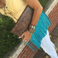 OOAK chocolate & Turquoise crackled leather by WhiskeyLeeDesigns
