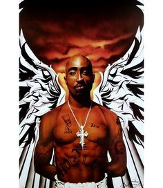"I love this art print featuring the late Tupac Shakur entitled ""Thug Angel"" by Barry B. It's probably one of my favorite pieces that feature the hip hop legend I think this one will surely make. Tupac Shakur, Sierra Leone, Rap Us, Tupac Art, Tupac Makaveli, Cotton Pictures, Hip Hop Art, Best Rapper, Thug Life"