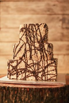 Alternative Wedding Cake: Chocolate Drizzle Rice Krispie Cake