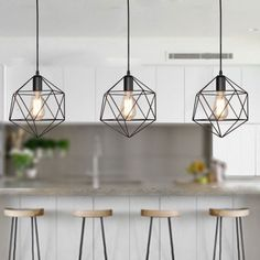 Geometric Cage Pendant Light Industrial Black Metal Hanging Lamp for Kitchen Island Pendant Lights Hanging Light Fixtures, Kitchen Lighting Fixtures, Kitchen Pendant Lighting, Kitchen Pendants, Hanging Lamps, Pendant Lamps, Kitchen Island Light Fixtures, Kitchen Island Hanging Lights, Modern Light Fixtures