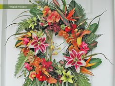 Tropical Paradise | Colorful Tropical Wreath by Fantasy of Flowers, via Flickr