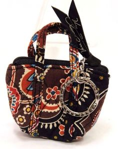 Vera Bradley Key Chain Coin Purse Brown Floral Kensington Mini Miller Bag SB0000 #VeraBradley