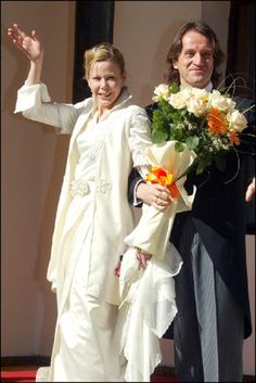 Princess Kalina of Bulgaria and her husband Kitin Munoz after their wedding ceremony in Borovets, Bulgaria on 28 Oct 2002.