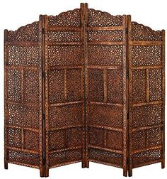 Captivating Benzara Villa Este Wood Room Divider 4 Panel Carved Screen $375 Part 29