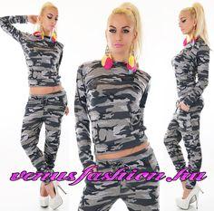 7cefee21f5 Divatos Terepmintás szürke szabadidő együttes - Venus fashion női ruha  webáruház Gazda, Camouflage, Négerek