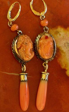 Antique coral cameo earrings. | Flickr - Photo Sharing! These are drop dead fabulous!