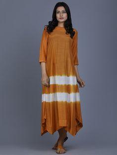 Mustard Cotton Silk Batik Dress