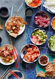 DIY Poke Bowl Bar from www.whatsgabycooking.com - the perfect way to feed a crowd and make sure everyone gets what they want (@whatsgabycookin)