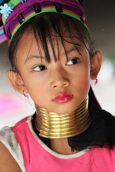 A beautiful young girl from the Long Neck Karen Paduang Hill Tribe in Chiang Mai.