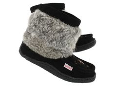 SoftMoc Moccasins | Womens half mukluk black with crepe sole
