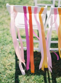 To save a little, decorate only the back row of chairs at an #outdoor wedding. #Ribbons | See more of this wedding on SMP: http://www.StyleMePretty.com/2014/01/31/carmel-by-the-sea-wedding-at-mission-ranch-hotel/ Kurt Boomer Photo