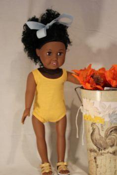 American Girl Doll Yellow Bathing Suit by PrairieWindGirls on Etsy, $10.00