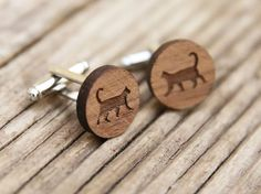 https://www.etsy.com/au/shop/TheLaserCo Cat silhouette cufflinks, made out of walnut wood. Purrrrfect for the kitty lovers out there. We have laser cut and hand crafted these cufflinks from 3mm thick walnut wood. The cuffs are 16mm in diameter and are finished with a strong, clear lacquer for protection. Wedding Cufflinks   Wood Anniversary   Wedding Anniversary   5 Year Anniversary