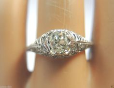 Antique Mine Diamond Engagement Ring Solitaire18K Art Deco Vintage Filigree RARE #Solitaire