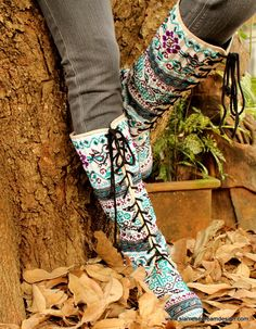 Anja Boot in Blue Birds Hmong Embroidery & by SiameseDreamDesign, $68.00