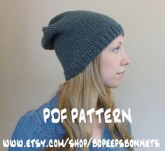 Knit Hat PATTERN, Knitting Pattern Slouch Beanie Textured Slouchy Hat Instant Download Knitting Pattern Knit Hat Pattern Knit Beanie Pattern