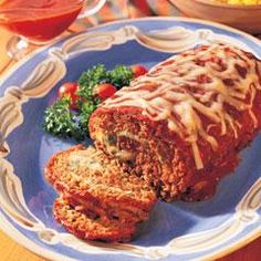 Cheese-Stuffed Meatloaf Recipe... Make ahead for a busy week and serve leftovers in hoagie rolls for delicious sandwiches.