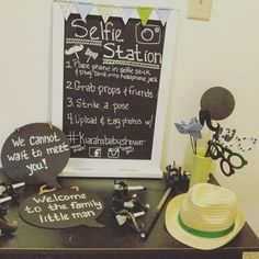 Selfie station, props, baby shower by Unique Melody Events & Design.