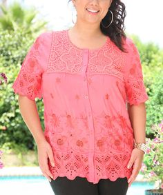 Love this Coral Eyelet Crochet Button-Up Tunic - Plus by Ananda's Collection on #zulily! #zulilyfinds ($25)