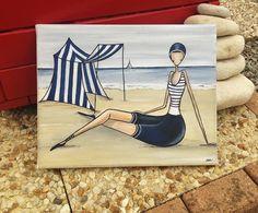 Une baigneuse un peu rétro peinte à la main à l'acrylique   sur une toile coton monté sur châssis de dimensions : 24 cm x 30 cm  Un modèle unique et original, copyright S - 20684810